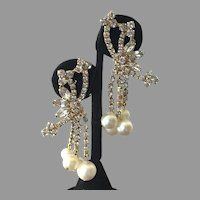 Vintage Fancy Rhinestone Faux Pearl Dangle Earrings