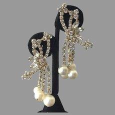 Vintage Fancy Rhinestone Faux Pearl Dangle Earrings