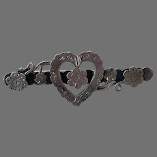 Victorian English Aesthetic Sterling Heart Pin By Ward Brothers