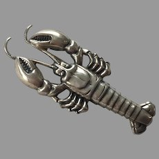 Vintage Sterling Lobster Pin