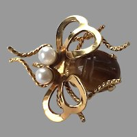Vintage Gold-Filled Bee Pin With Pearls & Tiger's Eye Scarab By Winard
