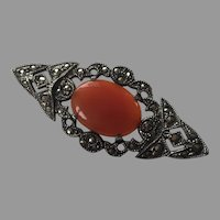 Antique Sterling Carnelian Marcasite Pin