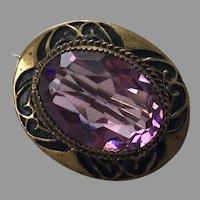 Antique Victorian Amethyst Gilt Brass Black Enamel Pin
