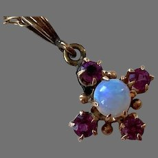 Antique Gold-Filled Opal & Faux Ruby Pendant Necklace