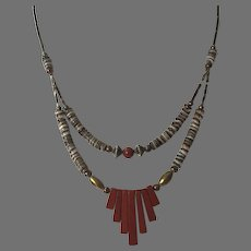 Vintage Heishi Red Jasper Silver Double Strand Necklace
