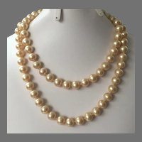 Vintage Single Strand Glass Champagne Pearl Endless Necklace