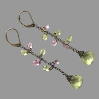 Pink & Green Crystal Dangle Earrings