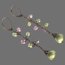 Pink & Green Crystal Dangle Earrings