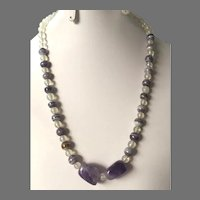 REDUCED Amethyst Quartz and Glass Bead Necklace