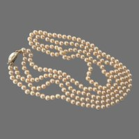 Vintage Double Strand Faux Pearls With Decorative Clasp