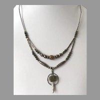 Native American Style Unakite & Silver Double Strand Pendant Necklace