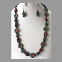 Ceramic Bead Necklace & Earrings Set