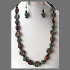 Ceramic Beaded Necklace & Earrings Set