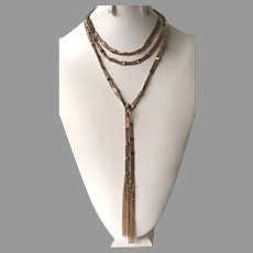 Rose Gold Tone Metal Long Lariat Style Necklace With Fringe