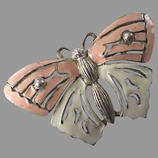 Carolee Silver Tone Pink & White Enamel Butterfly Pin