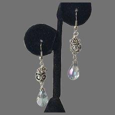 Vintage Silver & Aurora Borealis Crystal Dangle Earrings