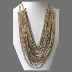 Vintage Slinky Multi-Strand Gold Tone Chain and Crystal Bib Necklace