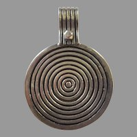 REDUCED Vintage Large Sterling Modernist Concentric Circles Pendant