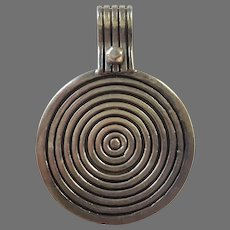 Vintage Large Modernist Concentric Circles Sterling Silver Pendant