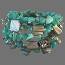 Turquoise Mother-Of-Pearl Memory Wire Wrap Bracelet