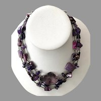 REDUCED Purple Jasper Amethyst Black Pearl Triple Strand Beaded Necklace