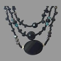 REDUCED Vintage Black Glass & Pearl Beaded Three Strand Necklace