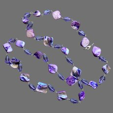Purple Dyed Mother-Of-Pearl & Glass Bead Necklace