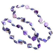 REDUCED Purple Dyed Mother-Of-Pearl & Glass Bead Necklace