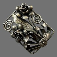 REDUCED Sterling Three Dimensional Bow Flowers Leaf Pin