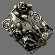 Vintage Silver Three Dimensional Bow Flowers Leaf Pin