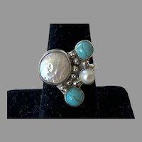 Vintage Sterling Pearl & Turquoise Adjustable Ring