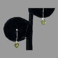 Vintage 10K White Gold Peridot Heart & Diamond Earrings
