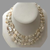 Vintage Triple Strand Mother-Of-Pearl & Crystal Choker Necklace