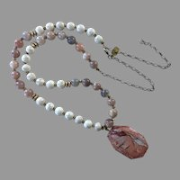 Vintage Agate & Jasper Beaded Pendant Necklace By Lucky Star Jewels