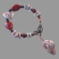 Red Jasper & Red Spot Stone Beaded Pendant Bracelet
