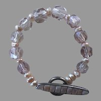 Crystal Mother-Of-Pearl Freshwater Cultured Pearl Sterling Bracelet