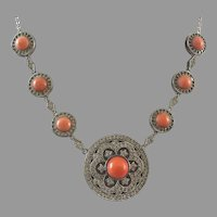 Joseph Esposito Sterling CZ Genuine Coral Necklace