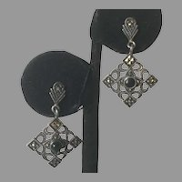 Vintage Sterling Marcasite Black Onyx Pierced Earrings