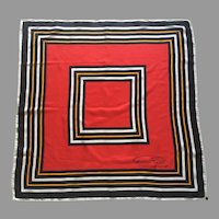 Vintage 1960's 70's Mod Design Italian Silk Scarf By Gino Paoli