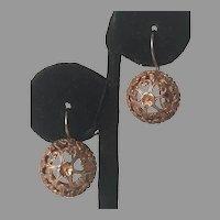 Vintage Sterling Gold Vermeil Filigree Drop Earrings