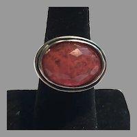 Vintage Sterling Faceted Cherry Quartz Ring