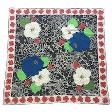 Vintage 1970's Geoffrey Beene Cotton Floral Scarf