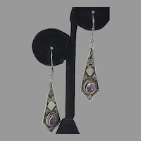 Vintage Sterling Amethyst Balinese Style Dangle Earrings
