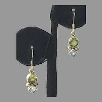 Sterling Peridot Blue Topaz Drop Earrings