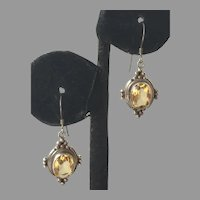Sterling & Faceted Citrine Drop Earrings