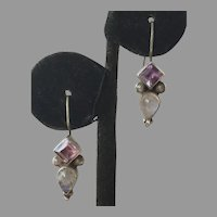Sterling Amethyst & Rainbow Moonstone Drop Earrings