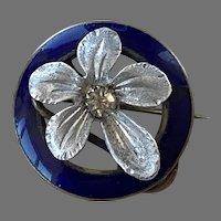 Victorian Paste Blue Enamel & Aluminum Floral Pin