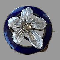 Victorian Aluminum Blue Enamel & Paste Floral Pin