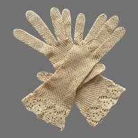 REDUCED Antique Beige Crochet Gloves