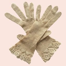 Antique Beige Crochet Gloves